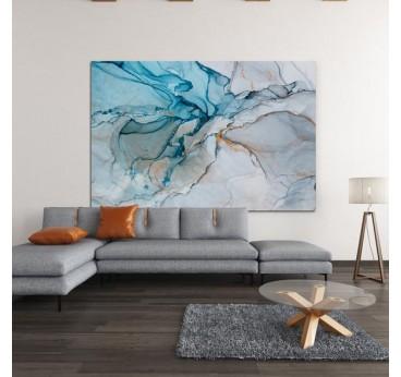 Tableau abstrait bleu et glace dans une décoration murale de salon tendance