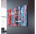 Tableau design de prada avec des couleurs bleues et rouges pour votre décoration murale moderne