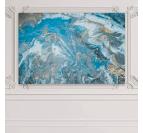 Tableau abstrait bleu avec un mélange de couleur or et blanc pour une décoration murale moderne