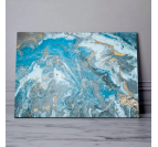 Abstract blue wall canvas for a modern interior with a marble back ground
