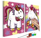 Painting for children of unicorns on a pink background with small symbols for the nursery wall decor