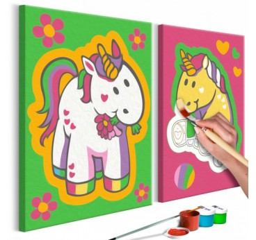 Paint by number of green unicorns for your children's wall decor