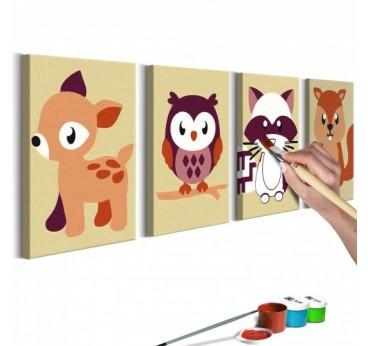 Tableau à peindre pour enfant des animaux de la forêt avec 4 cadres en marron pour la déco intérieure de vos enfants