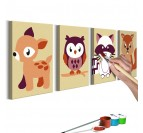 Painting painting for children of forest animals with 4 frames in brown for your children's interior decor