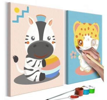 Table to paint for children with a multicolored zebra and leopard for the wall decor of the nursery