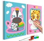 Peinture par numéros pour enfants avec des animaux en rose pour créer une déco murale rigolote