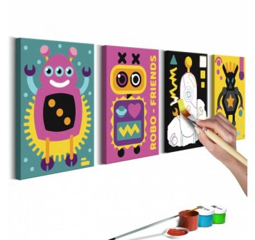 Painting for children of robots in several frames for a child's wall decor