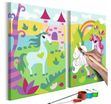 Painting for children of magic animals for little ones and their rooms