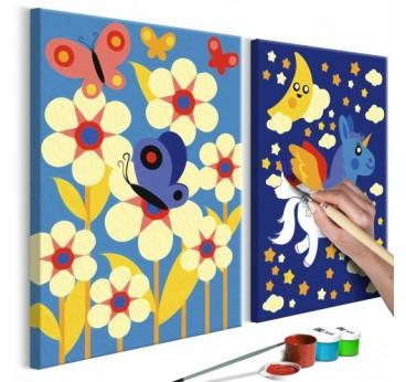 Tableau à peindre pour enfant de papillons dans la nature avec des couleurs bleues et modernes