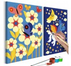 Painting for children of butterflies in nature with blue and modern colors