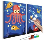 Painting for children of sea animals for a funny touch in your wall decor
