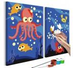Tableau à peindre pour enfant des animaux de la mer pour une touche rigolote dans la déco murale de chambre d'enfant