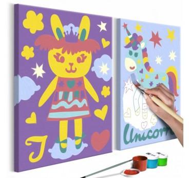 Tableau à peindre pour enfant avec des lapins en plusieurs couleurs pour la déco murale de chambre