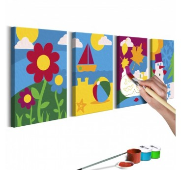 Canvas to paint for children from different seasons of the year for an original interior decoration