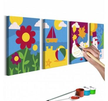 Tableau à peindre pour enfant des différentes saisons de l'année pour une déco intérieure originale