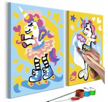 Tableau à peindre pour enfant de licornes multicolores pour votre décoration intérieure