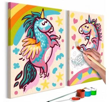 Tableau à peindre pour enfant de deux licornes ultra colorée pour un intérieur tendance