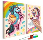 Painting for children of two ultra colorful unicorns for a trendy interior