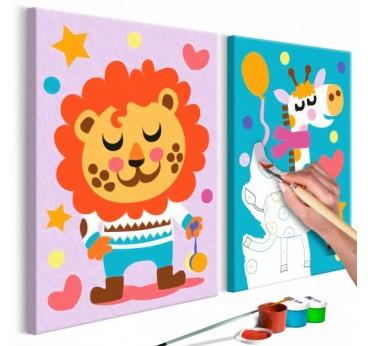 Tableau à peindre pour enfant de lion et girafe multicolore et tout mignon pour la déco murale