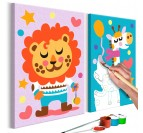 Painting for kids of lion and multicolored and cute giraffe for wall decoration