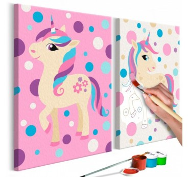 Painting for children of small unicorns in pink and white