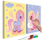 Tableau à peindre pour enfant de licornes ailées pour créer un intérieur moderne dans leur chambre d'enfant