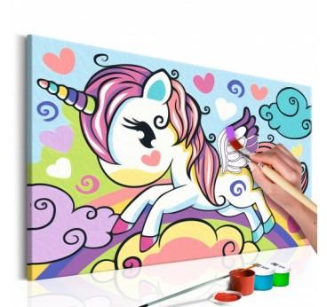 Peinture par numéros pour enfants d'une petit licorne en un seul cadre pour décorer leur chambre