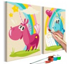 Painting for children of magical animals with a rainbow