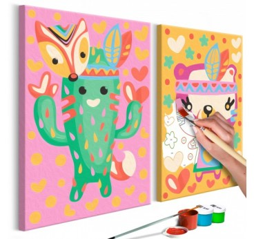 Painting for child of green cactus for an original bedroom wall decor