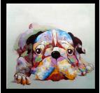 Colorful Dog Tableau Contemporain