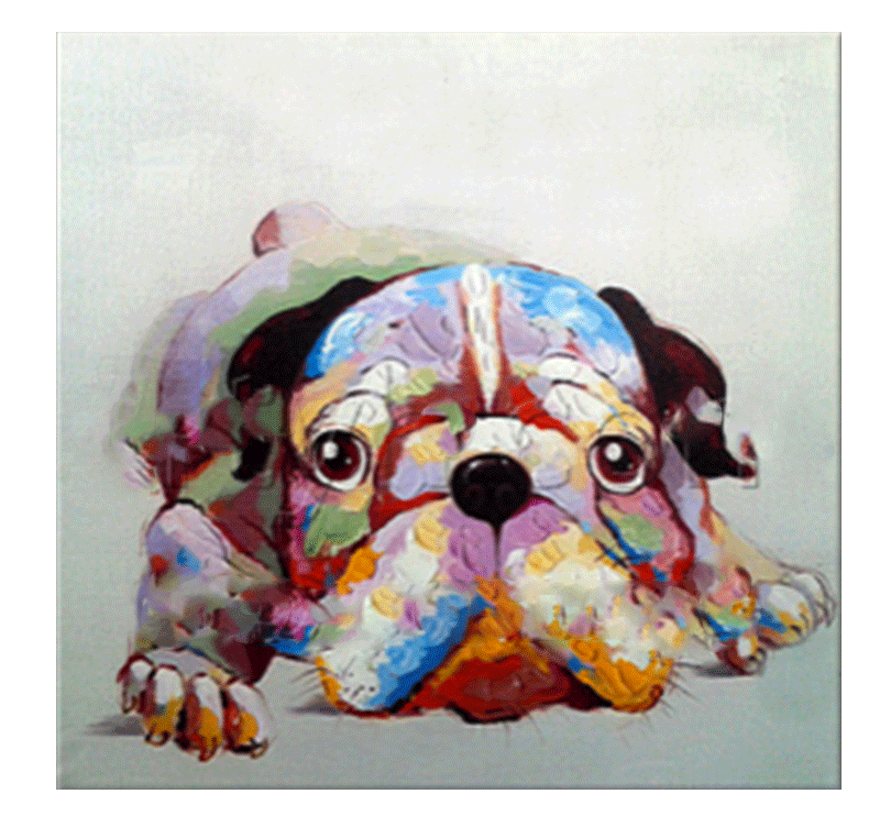 Colorful dog tableau contemporain - Tableau art contemporain pas cher ...
