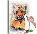 Tableau à peindre de bébé tigre pour une décoration murale animale