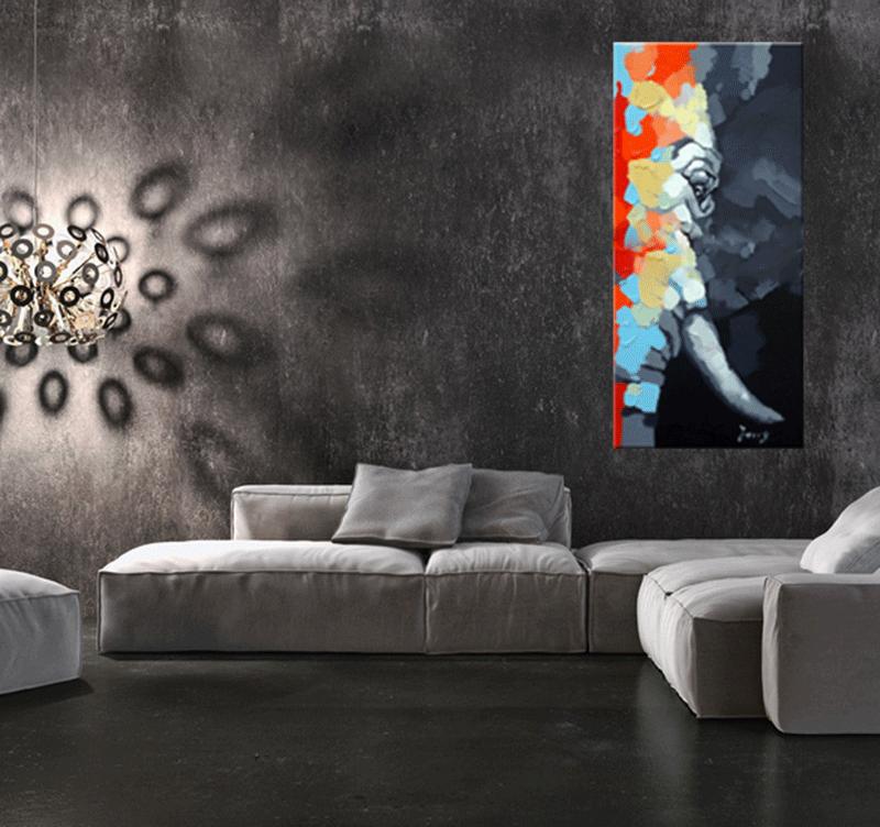 eye of the elephant tableau moderne. Black Bedroom Furniture Sets. Home Design Ideas