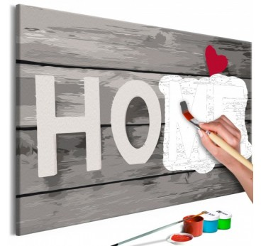 Frame to paint by number with the word home for a cozy atmosphere