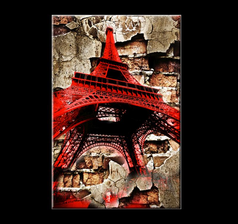 red eiffel tower tableau d co. Black Bedroom Furniture Sets. Home Design Ideas