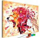 Painting by numbers diy of an abstract lion for a modern interior