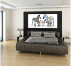 Tableau Animaux Colorful Zebra Family