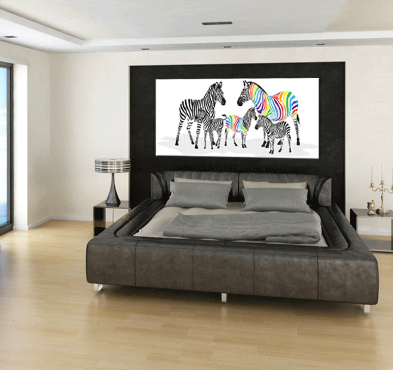 colorful zebra family tableau animaux. Black Bedroom Furniture Sets. Home Design Ideas