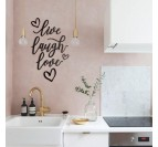 Metal wall decoration of Live Love Laugh for a trendy interior decoration