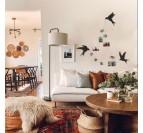 Décoration murale métal de nos oiseaux dans un salon moderne et contemporain