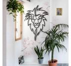 Trophée déco métallique d'une tête de lion dans une version moderne pour un intérieur design