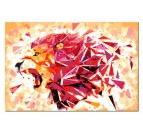 Multicolore lion on a painting by number to do with your family for a modern interior