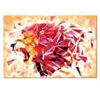 Peinture par numéros de lion multicolore en version design pour votre déco murale