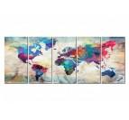 Tableau déco en version grand format de la carte du monde avec plusieurs couleurs
