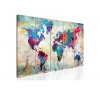 Tableau moderne xxl de la carte du monde en version multicolore