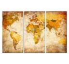 Orange antique world map decoration with three panels
