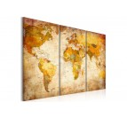 Multiple antique world map canvas print with an orange touch