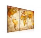 Tableau moderne de la carte du monde en trois panneaux pour une déco murale tendance