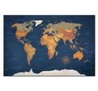 Tableau moderne de la carte du monde version océan pour un intérieur moderne