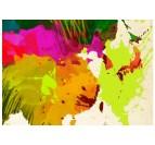 Détails de notre carte du monde multicolore en tableau design